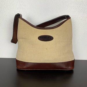 Oroton Cognac Leather and  Canvas Shoulder Bag